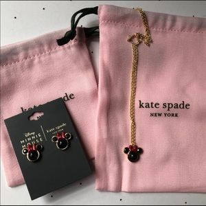 Kate Spade  Minnie Mouse earrings and necklace